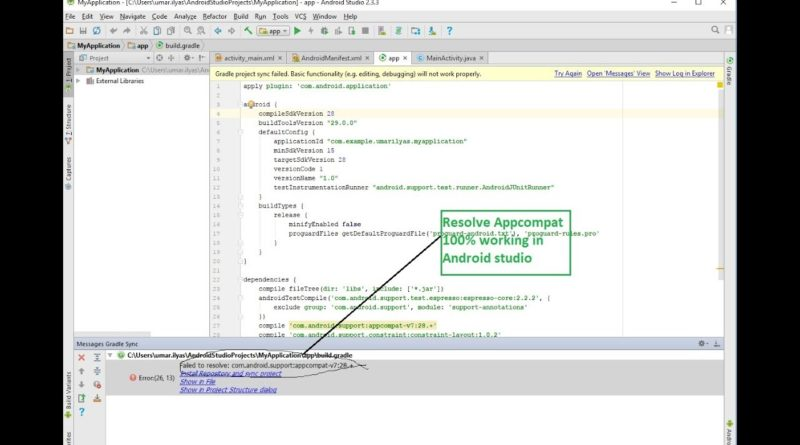 how to resolve appcompatactivity v7:28. error in android studio