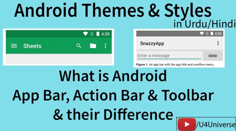 What is Android AppBar, ActionBar, Toolbar & their Difference | Android Tutorial | U4Universe
